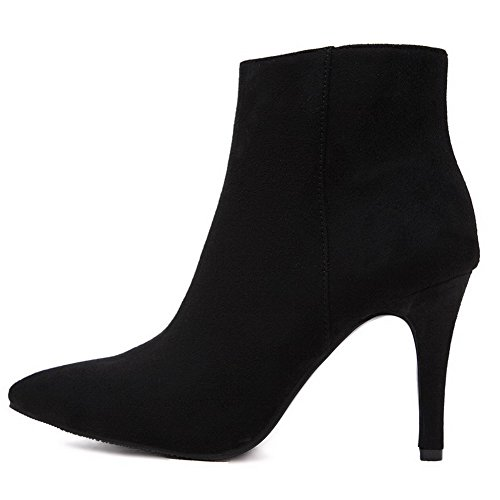 AllhqFashion Womens Imitated Suede Frosted High-Heels Boots with Zippers Black J3UORy