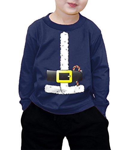 Santa Claus Costume Long Sleeve Shirt (Navy Blue, 3T)