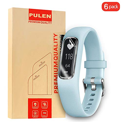 PULEN for Garmin Vivosmart 4 Screen Protector TPU Skin HD Scratch Resistant Anti-Fall Bubble Free Anti-Fingerprints Protective Film for Garmin Vivosmart 4 (6 Packs)