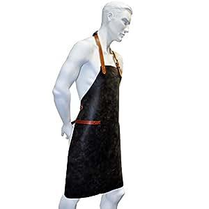 NUEVO Alto wertiger Barbacoa Delantal/piel/Camarero Delantal de piel (((Adecuado para Barista, Gastronomía & barbacoas)))–2colores funciones elapsed–L–62,5x 85cm, negro vintage