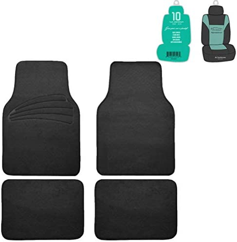 FH Group F14401 Premium Carpet Floor Mats with Heel Pad Floor Liners (Black) Full Set with Gift – Universal Fit for Cars, Trucks & SUVs