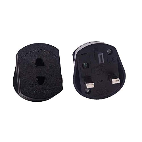 (Pack of 2) 1A UK Travel Electric Shaver Razor Toothbrush Converter Adaptor Plug 2 Pin Euro to UK 3 Pin Plug Adaptor…