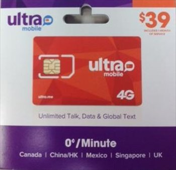 Ultra Mobile Sim Card Preloaded with $39 Unlimited Talk