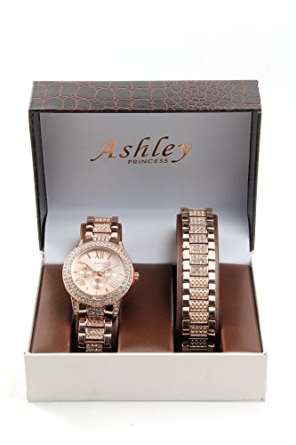 Rose+Gold+Ice+Out+Bling+Watch+With+Clear+Stones+Ladies+Watch+Gift+Set