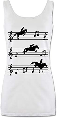Shirtracer - Pferde - Pferde auf Musiknoten - schwarz - Tanktop für Damen und Frauen Tops