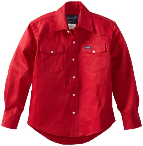 Wrangler Boys' Western Solid Snap Shirt, Red, L ()