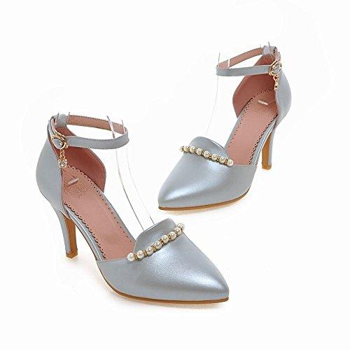 MissSaSa Damen Pointed Toe Knöchelriemchen high-heel Pumps mit Perlen und Strass elegant Stiletto Schnalle Kleidschuhe Blaugrau