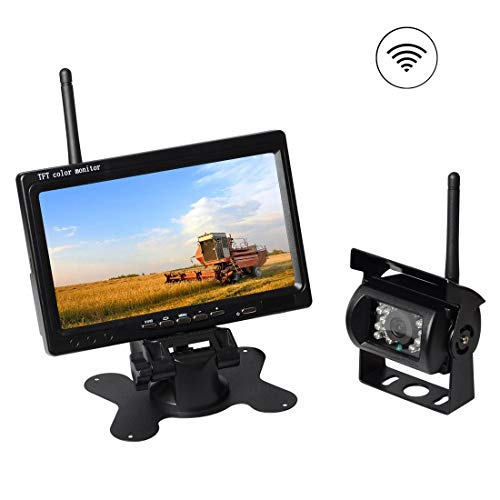 - AKK Upgraded Wireless Rear View Camera with 7'' LCD Wireless Reversing Monitor Display for Waste Truck, Crane, Bulldozer, Combine, Cotton Picker, Tractor, Excavator, Snow plow, Wireless Backup Camera
