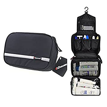 997d15b861 Amazon.com   Travel Toiletry Bag Business Toiletries Bag for Men Shaving Kit  Waterproof Compact Hanging Travel Cosmetic Pouch Case for Women Black    Beauty