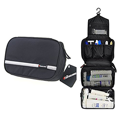 Travel Toiletry Bag Business Toiletries Bag for Men Shaving Kit Waterproof Compact Hanging Travel Cosmetic Pouch Case for Women Black Business Kit