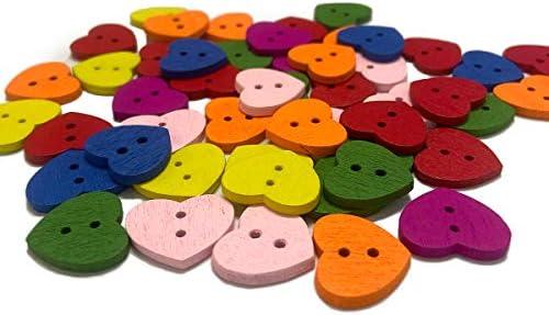 クラフトボタン、50個の色のハート型手作り木製バックルDiy人形の絵カードを作るため