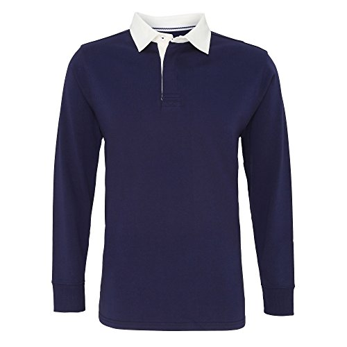 Asquith Fox Mens Classic Fit Long Sleeve Vintage Rugby Shirt (XL) (Navy/White) ()