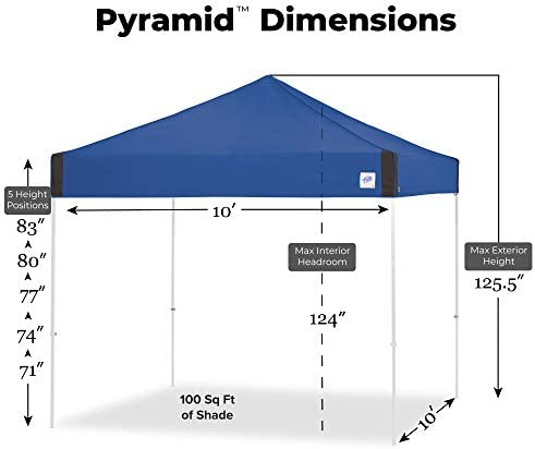 E-Z UP Pyramid Instant Shelter 10 x 10 Canopy Portable Popup Tent W Upgraded Wide-Trax Roller Bag White PR3WH10WH