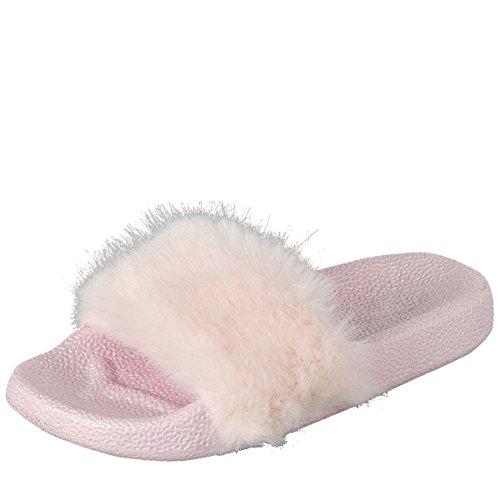 Pour Toujours Lien Femmes Bout Ouvert Diapositive En Fausse Fourrure Sandale Plate Slip On Flip Flop Chaussons Rose