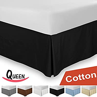Combed Cotton Queen Bed-Skirt Black- 100% Finest Quality Long Staple Fiber - Durable, Comfortable & Abrasion Resistant, Quadruple Pleated, Cotton Blended Platform - By Utopia Bedding
