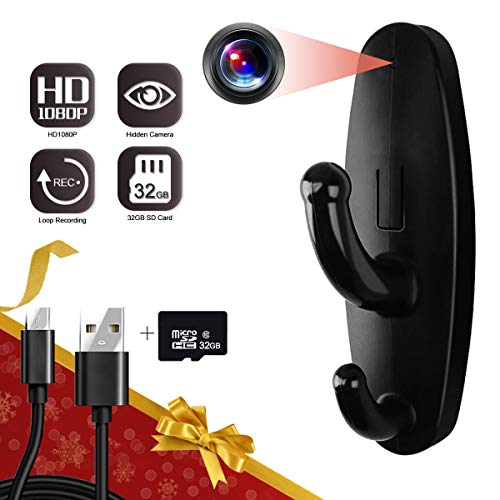 32GB Spy Camera Clothes Hook, Yumfond Mini Hidden Camera HD 1080P No WiFi Needed Nanny Cam, Security Camera with 32GB SD Card Recording for Monitoring Home/Baby/Pet