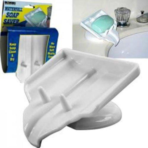 Soap Dish, Soap Saver, Waterfall Drain, STOP Mushy Soap, Cle