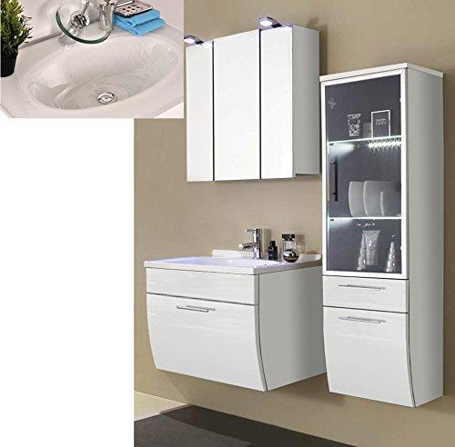 SAM® Design Badmöbel-Set Santana 3tlg mit Glastür, 70 cm, weiß ...