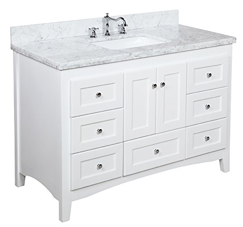 Abbey 48-inch Bathroom Vanity (Carrara/White): Includes White Cabinet with Authentic Italian Carrara Marble Countertop… - Unit comes fully assembled by manufacturer, with countertop & sink pre-installed Italian Carrara marble countertop has double-thick edge! Matching backsplash included as a free gift! - bathroom-vanities, bathroom-fixtures-hardware, bathroom - 41VNMedFEqL -