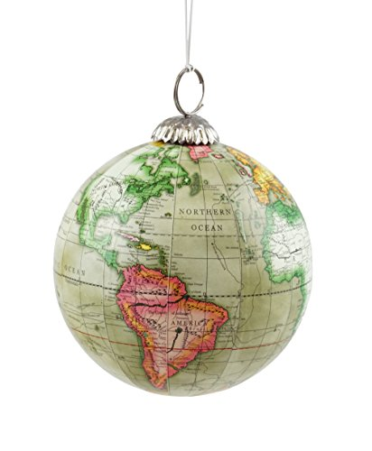 Old World Map Globe Hanging Christmas Tree Ornament by Creative Co-op ()