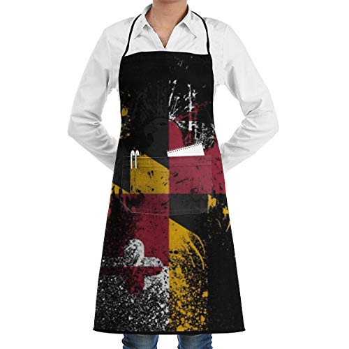 (Maryland Flag Cooking Apron Adjustable Strap BBQ Grill Black Aprons Kitchen Apron)