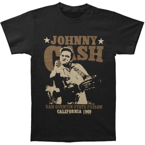 Johnny Cash Men's San Quentin Stars Slim Fit T-shirt Black