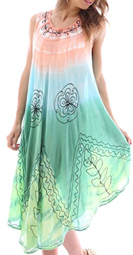Women's Summer Embroidered Tank Dress / Cover Up, 62-Peach & Mint