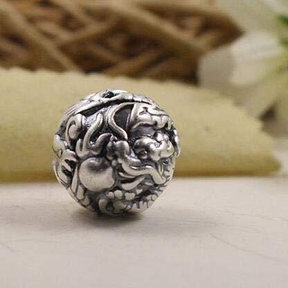 (Calvas 3D 100% 999 Silver Beads Pure Silver Power Dragon Beads Good Luck Dragon Beads DIY Bracelet Beads)
