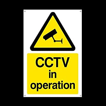 CCTV in Operation Plastic Sign with 4 Pre-Drilled Holes - Security, Camera, Closed Circuit TV, Warning Safety (MISC11) USSP&S