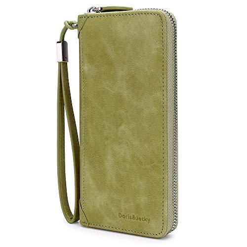 Women Leather Wallet Rfid Blocking Large Capacity Zipper Around Travel Wristlet Bags (Palm Green) by Doris&Jacky (Image #3)