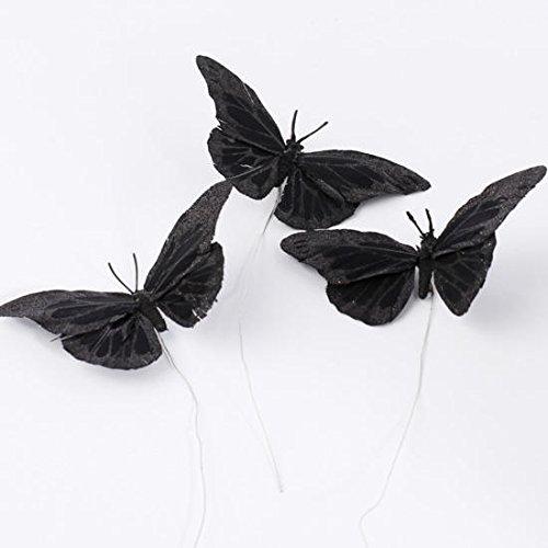 Black Glitter Feather Butterflies (12 Butterflies)