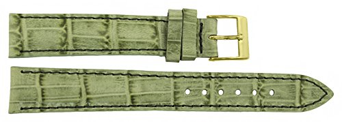 Citime Green Leather Band Replacement Alligator Pattern, Pin Clasp, 16mm Strap _ B16GreAli59G