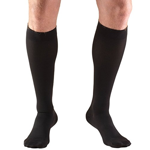 Truform 15-20 mmHg Compression Stockings for Men and Women, Knee High Length, Closed Toe, Black, Large