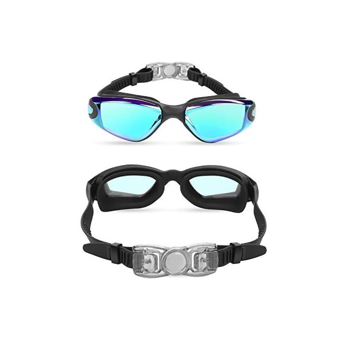 GAFAS NATACION HERMÉTICAS: Estas gafas de silicona están hechas de silicona suave de doble capa para gran comodidad y evitar que goteen. Con el fuerte sello de goma gruesa, protegerán sus ojos del cloro y otros químicos presentes en las piscinas. Sus ojos también estarán protegidos contra el polvo, suciedad y bacterias, esto evitará la irritación y los ojos rojos. Estas gafas de nadar se pueden usar para bucear, triatlones y nado sincronizado. LENTES CON PROTECCIÓN UV: Estas coloridas gafas para natación tienen coloridas lentes de policarbonato. Son resistentes, no se romperán y tienen protección UV. Con esta protección evitará cualquier daño por los rayos del sol y también reducen la cantidad de luz que entra, esto ayuda a minimizar el resplandor, para mejorar la experiencia cuando nade en exteriores o bajo las brillantes luces de la piscina. CORREA AJUSTABLE DE SILICONA: Las gafas para bucear tienen una correa que se puede ajustar fácilmente para hacerla más grande o pequeña y ajustarse a la mayoría de los tamaños de cabezas. Estas gafas son aptas para hombres y mujeres adultos, así como también adolescentes. El botón de liberación rápida en la parte trasera ayuda a liberarlas y retirarlas fácilmente. Estas gafas de piscina son perfectas para profesionales, así como nadadores recreativos.