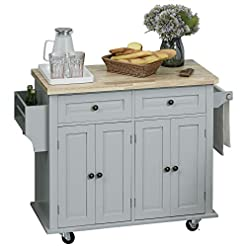 Farmhouse Kitchen HOMCOM Rolling Kitchen Island Cart with Rubber Wood Top, Spice Rack, Towel Rack & Drawers for Dining Room, Grey farmhouse kitchen islands and carts