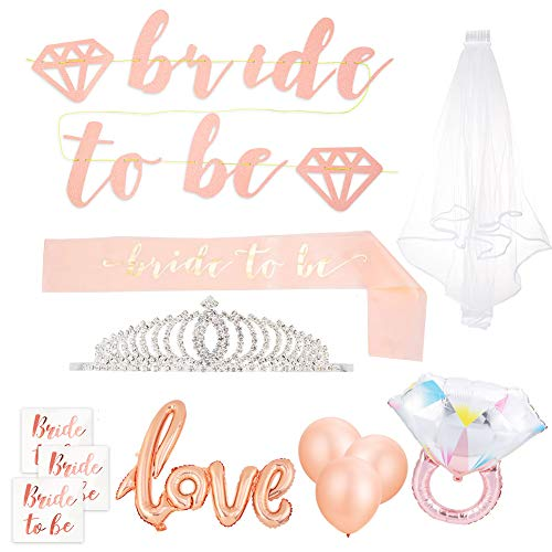 Bachelorette Party Decorations Kit - Bridal Shower Decorations Supplies - Bride to Be Banner, Bride to Be Sash, Tiara, Ring Foil, Love Balloon, Rose Balloons, Veil + Bride Tribe Tattoos