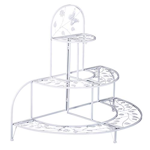 (Outsunny 3 Tier Plant Stand Metal Butterfly Leaf Outdoor Potted - White)