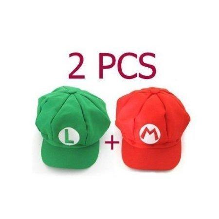[2PCS Super Mario Bros Hat Mario Luigi Cap Cosplay Red Green] (Super Mario Bros Baby Costumes)
