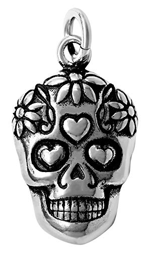 (Raposa Elegance Sterling Silver Sugar Skull Charm (approximately 14.5 mm x 11.5 mm))