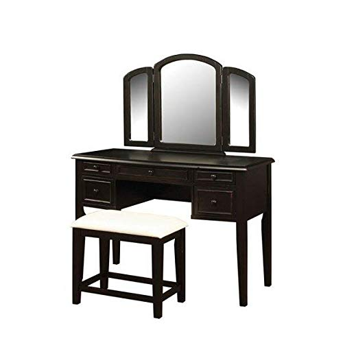 - 5 Drawers Manufactured Wood Vanity Set with Mirror and Upholstered Seat, Warm Cherry + Free Basic Design Concepts Expert Guide
