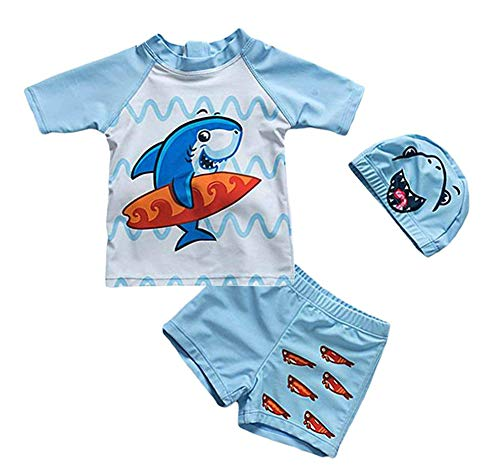 - Baby Boys Two Piece Swimwear Bathing Suits UV Protection Rash Guard T Shirt Set(Shark, 3-4 Years)