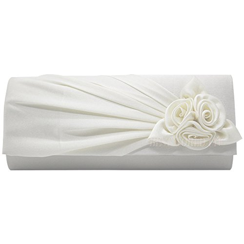 Wocharm Ladies Satin Clutch Bag With Rose Evening Wedding Party Prom Bridal Handbag Women's Shoulder Bag White