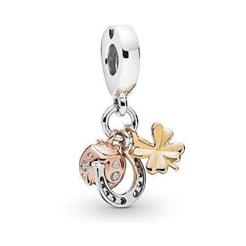 Romántico Amor Clover,Butterfly,Horseshoe&Ladybird Dangle Charm 925 Sterling