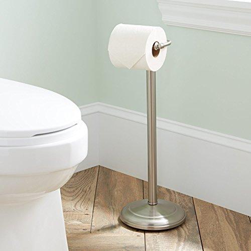 (SH Naiture Steel Free Standing Round Pedestal Toilet Paper Dispenser Hand Tissue Holder, Floor Stand Storage, Brushed Nickel Finish)