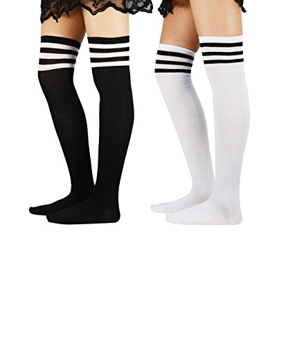 Zando Over The Knee Stocking Thin Fashion Athletic Retro Tube Socks 3 Stripes Thigh High Sock for Women 2 Pairs White Black One - New Designer Jersey Outlets In