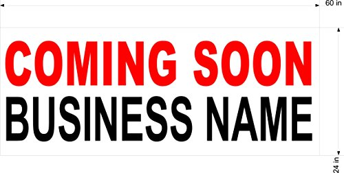 2ftx5ft Custom Printed Coming Soon Banner Sign with Your Business Name (Outdoor Opening Banner)