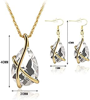ningbao651 61152104 Trendy Girls Ornament Set Fashion Lady Necklace Pair Ear Hook Eye_Catching Women Party Accessories