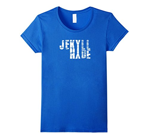 Womens Dr. Jekyll Mr. Hyde Cool Graphic Text Design Tshirt Small Royal (Jekyll And Hyde Halloween)