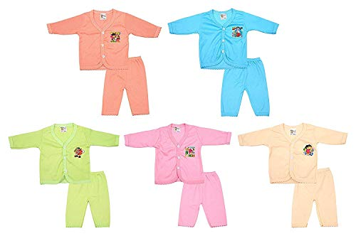 Worivo Multi Color Baby Cotton Clothes Set for Unisex (Pack of 5 Set, 0-3 Months)