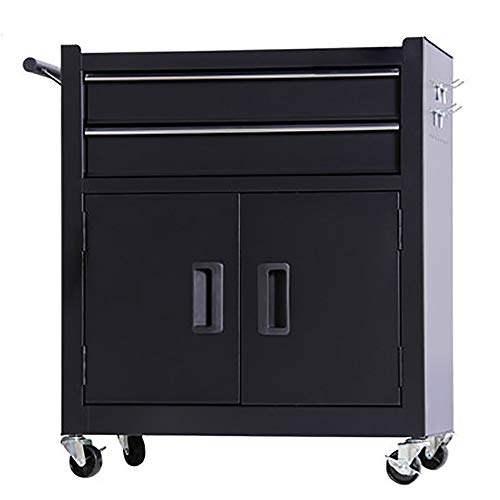 BGROEST Maintenance Tool Cart Container Equipment Cart Toolbox Multifunctional Auto Repair Tool Trolley Tattoo Workbench Workshop Tool Tin Cabinet For Factory (Color : Black, Size : 62x33x74cm)